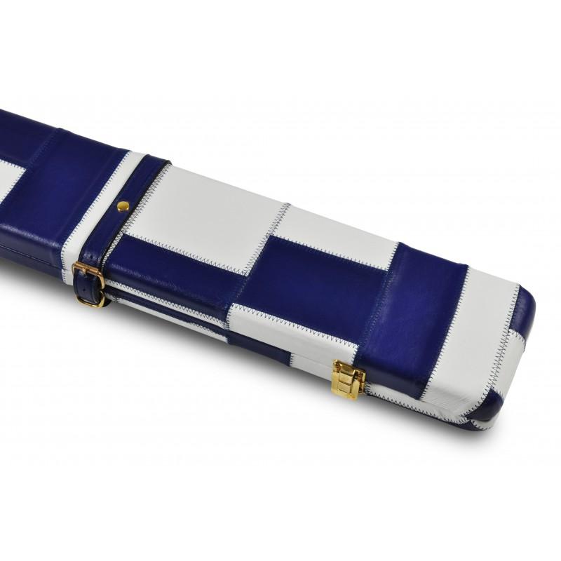 Peradon White & Blue Patchwork Leather 3/4 Case